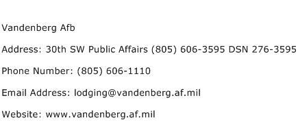Vandenberg Afb Address Contact Number