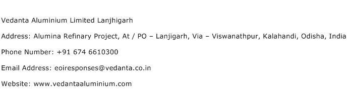 Vedanta Aluminium Limited Lanjhigarh Address Contact Number
