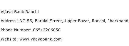 Vijaya Bank Ranchi Address Contact Number