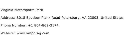 Virginia Motorsports Park Address Contact Number