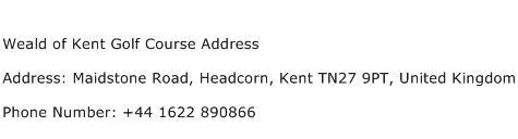 Weald of Kent Golf Course Address Address Contact Number