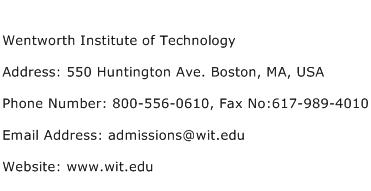 Wentworth Institute of Technology Address Contact Number
