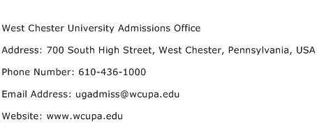 West Chester University Admissions Office Address Contact Number