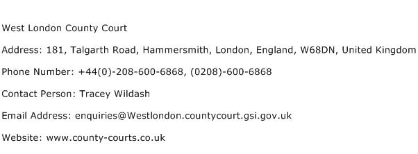 West London County Court Address Contact Number