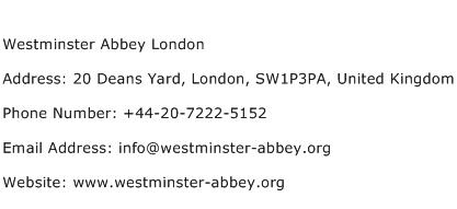 Westminster Abbey London Address Contact Number