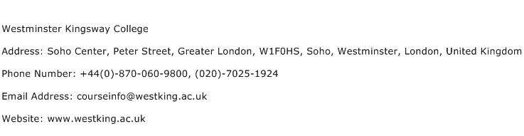 Westminster Kingsway College Address Contact Number