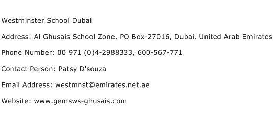 Westminster School Dubai Address Contact Number