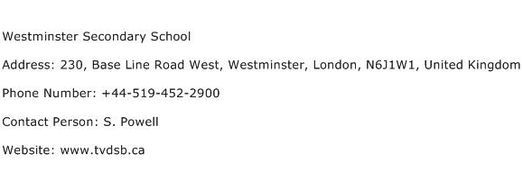 Westminster Secondary School Address Contact Number