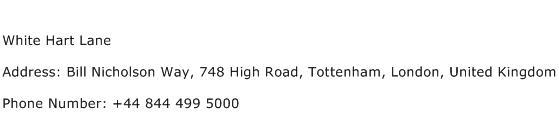 White Hart Lane Address Contact Number