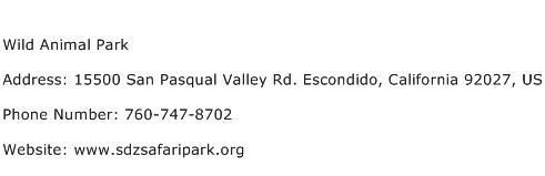 Wild Animal Park Address Contact Number