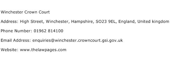 Winchester Crown Court Address Contact Number