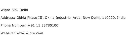 Wipro BPO Delhi Address Contact Number