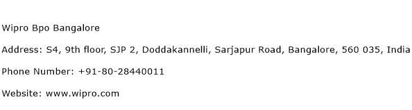 Wipro Bpo Bangalore Address Contact Number