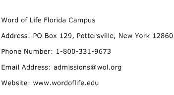 Word of Life Florida Campus Address Contact Number