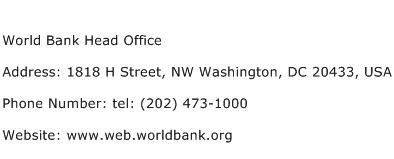 World Bank Head Office Address Contact Number