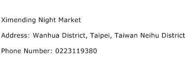 Ximending Night Market Address Contact Number