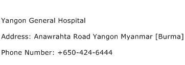 Yangon General Hospital Address Contact Number