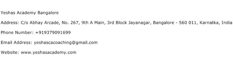 Yeshas Academy Bangalore Address Contact Number