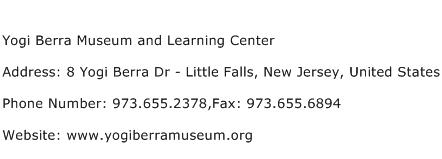 Yogi Berra Museum and Learning Center Address Contact Number