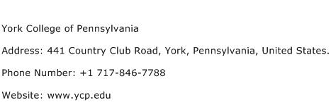 York College of Pennsylvania Address Contact Number