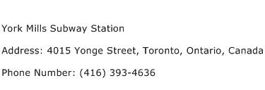 York Mills Subway Station Address Contact Number