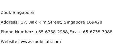 Zouk Singapore Address Contact Number