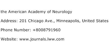 the American Academy of Neurology Address Contact Number