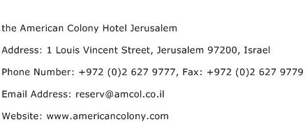 the American Colony Hotel Jerusalem Address Contact Number