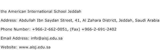 the American International School Jeddah Address Contact Number