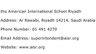 the American International School Riyadh Address Contact Number