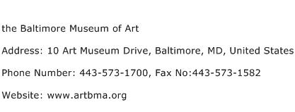 the Baltimore Museum of Art Address Contact Number