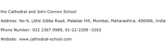the Cathedral and John Connon School Address Contact Number