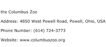 the Columbus Zoo Address Contact Number