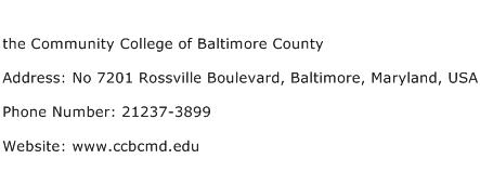 the Community College of Baltimore County Address Contact Number