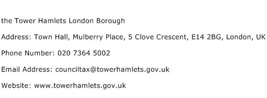 the Tower Hamlets London Borough Address Contact Number