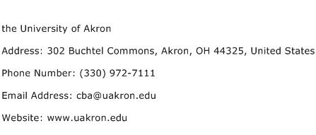 the University of Akron Address Contact Number