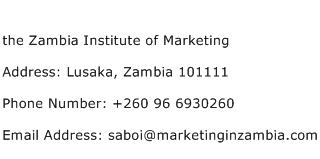 the Zambia Institute of Marketing Address Contact Number